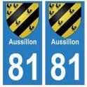 81 Aussillon blason autocollant plaque stickers ville