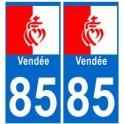 85 Vendée autocollant plaque