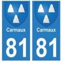 81 Carmaux blason autocollant plaque stickers ville