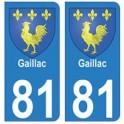 81 Gaillac blason autocollant plaque stickers ville