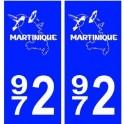 972 Martinique blason autocollant plaque