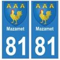 81 Mazamet blason autocollant plaque stickers ville