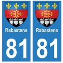 81 Rabastens blason autocollant plaque stickers ville