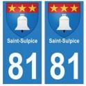 81 Saint-Sulpice blason autocollant plaque stickers ville