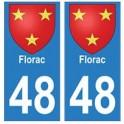 48 Florac blason autocollant plaque ville stickers