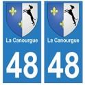 48 La Canourgue blason autocollant plaque stickers ville