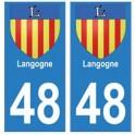 48 Langogne blason autocollant plaque stickers ville