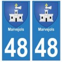 48 Marvejols blason autocollant plaque stickers ville