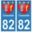 82 Caussade blason autocollant plaque stickers ville