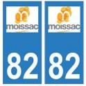 82 Moissac logo autocollant plaque stickers ville