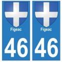 46 Figeacblason autocollant plaque stickers ville