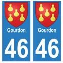46 Gourdon blason autocollant plaque stickers ville