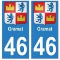 46 Gramat blason autocollant plaque stickers ville