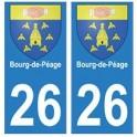 26 Bourg-de-Péage autocollant plaque blason armoiries stickers département