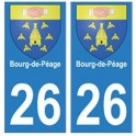 26 Bourg-de-Péage autocollant plaque blason armoiries stickers département