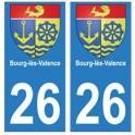 26 Bourg-lès-Valence blason autocollant plaque stickers ville