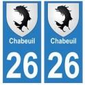 26 Chabeuil blason autocollant plaque stickers ville