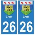 26 Crest blason autocollant plaque stickers ville