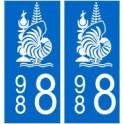 988 nouvelle calédonie autocollant plaque