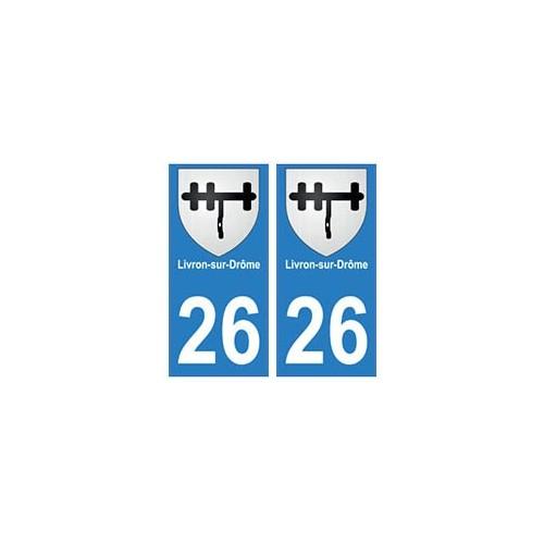 26 livron sur dr me autocollant plaque immatriculation blason armoiries stickers d partement. Black Bedroom Furniture Sets. Home Design Ideas