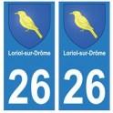 26 Loriol-sur-Drôme blason autocollant plaque stickers ville
