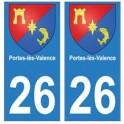 26 Portes-lès-Valence blason autocollant plaque stickers ville