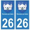 26 Romans-sur-Isère blason autocollant plaque stickers ville