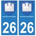 26 Saint-Paul-trois-chateaux blason autocollant plaque stickers ville