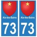 73 Aix-les-Bains blason autocollant plaque immatriculation ville