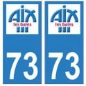 73 Aix-les-Bains logo autocollant plaque immatriculation ville