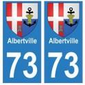 73 Albertville blason autocollant plaque immatriculation ville