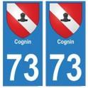 73 Cognin blason autocollant plaque immatriculation ville
