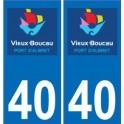 40 Vieux-Boucau autocollant plaque Logo stickers département ville