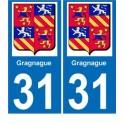 31 Gragnague blason logo 2 ville autocollant plaque stickers