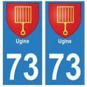 73 Ugine blason autocollant plaque immatriculation ville