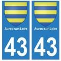 43 Aurec-sur-Loire blason autocollant plaque ville
