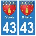 43 Brioude blason autocollant plaque immatriculation ville