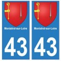 43 Monistrol blason autocollant plaque immatriculation ville