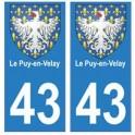 43 Puy-en-Velay blason autocollant plaque immatriculation ville