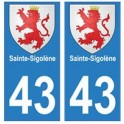 43 Sainte-Sigolène blason autocollant plaque immatriculation ville