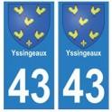 43 Yssingeaux blason autocollant plaque immatriculation ville