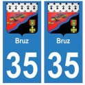 35 Bruz blason autocollant plaque stickers ville