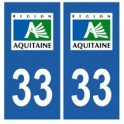 33 Gironde autocollant plaque