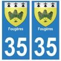 35 Fougères blason autocollant plaque stickers ville