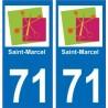 71 Saint-Marcel logotipo de la etiqueta engomada de la placa de pegatinas de la ciudad
