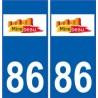 86 Mirebeau logo autocollant plaque stickers ville