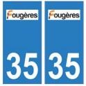 35 Fougères logo autocollant plaque stickers ville