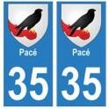 35 Pacé blason autocollant plaque stickers ville