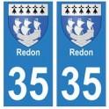 35 Redon blason autocollant plaque stickers ville