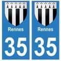 35 Rennes blason autocollant plaque stickers ville